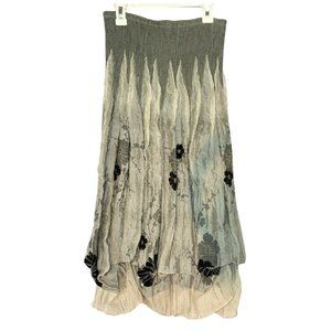 Lapis Midi Scrunched Floral Skirt (Size: One Size)